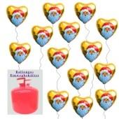 Helium-Einweg-Behälter mit 20 Weihnachtsballons Nikolaus, gold