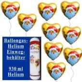 Helium-Einweg-Behälter mit 9 Weihnachtsballons Nikolaus, gold