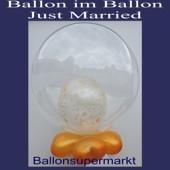 Bubble Luftballon Just Married, Gold (mit Helium)