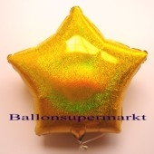 Sternballon, Gold, holografisch, Luftballon Stern, Ballonstern, Ballon in Sternform mit Ballongas Helium