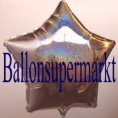 Sternballon, Silber, holografisch, Luftballon Stern, Ballonstern, Ballon in Sternform mit Ballongas Helium
