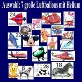 7 Folienballons Shapes, große Luftballons inklusive Helium, Versand im großen Karton