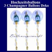 Hochzeitsballons, Ballondeko-Bubbles, Sekt-Champagner, 3 Stück
