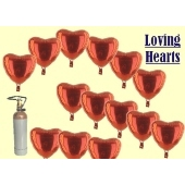 Loving Hearts Folienballons 20 Stück Herzluftballons in Rot