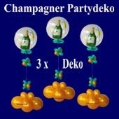 Partydekoration Silvesterparty, Champagner Bubble mit Helium und Zierdeko, 3 Stück