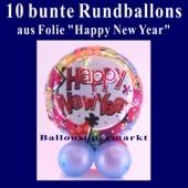 Tischdeko bunte Luftballons aus Folie, Happy New Year, 10 Stück