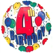 4th Birthday Luftballon zum 4. Geburtstag mit Ballongas-Helium