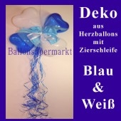Herzluftballons-Dekoration mit Ringelband und Zierschleife, Blau-Weiß