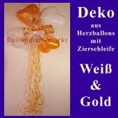 Herzluftballons-Dekoration mit Ringelband und Zierschleife, Gold-Weiß