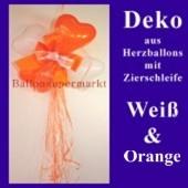 Herzluftballons-Dekoration mit Ringelband und Zierschleife, Orange-Weiß