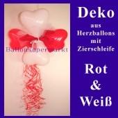 Herzluftballons-Dekoration mit Ringelband und Zierschleife, Rot-Weiß