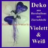 Herzluftballons-Dekoration mit Ringelband und Zierschleife, Violett-Weiß