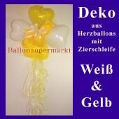 Herzluftballons-Dekoration mit Ringelband und Zierschleife, Weiß-Gelb