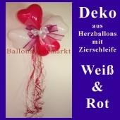 Herzluftballons-Dekoration mit Ringelband und Zierschleife, Weiß-Rot