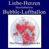 Liebe, Herzen und Herzluftballons, Bubble Luftballon (mit Helium)