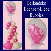 Ballondeko, Hochzeit und Liebe, Bubble Luftballon (mit Helium)