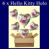 Hello Kitty Herzluftballons mit Helium, Kindergeburtstag Geschenke, 6 Stück