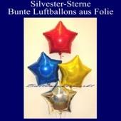 Buntes-Silvester-Bukett aus 4 Folien-Luftballons, Holografisch
