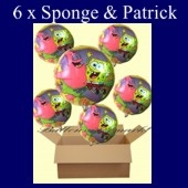 Spongebob und Patrick Luftballons mit Helium, Kindergeburtstag Geschenke, 6 Stück