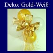 Mini-Luftballons-Dekoration mit Ringelband und Zierschleife, Weiß-Gold