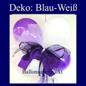 Mini-Luftballons-Dekoration mit Ringelband und Zierschleife, Weiß-Lila