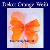 Mini-Luftballons-Dekoration mit Ringelband und Zierschleife, Weiß-Orange