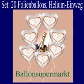 20 Ballons aus Folie, Silberhochzeit, mit dem Helium-Einweg-Behälter
