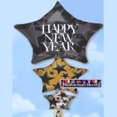 """Silvester-Ballons, Happy New Year """"Stars"""", Cluster, inklusive Helium"""