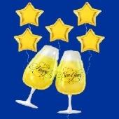 Happy New Year Champagner und Sterne