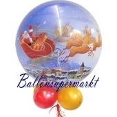 Bubble-Luftballon, Weihnachtsmann mit Schlitten, inklusive Helium
