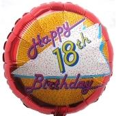 Happy Birthday 18, Luftballon aus Folie, Geburtstagsballon zum 18. (ohne Helium)
