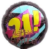 """Happy Birthday """"21"""", Luftballon aus Folie, Geburtstagsballon zum 21. (ohne Helium)"""