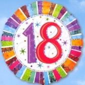 Folienballon Geburtstag 18.,Birthday Prismatic (ohne Helium)