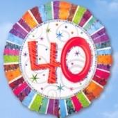 Folienballon Geburtstag 40.,Birthday Prismatic (ohne Helium)