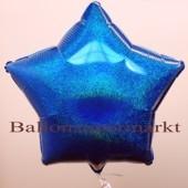 Luftballon aus Folie, Sternballon, Holografischer Glanzeffekt, Blau, ohne Helium