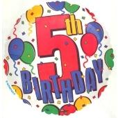 5th Birthday, Luftballon aus Folie, Geburtstagsballon zum 5. (ohne Helium)