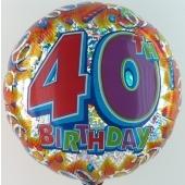 Happy Birthday Luftballon aus Folie, Prismatik-Ballon, 40. Geburtstag (ohne Helium)