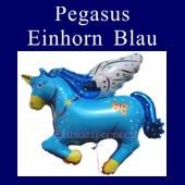 Luftballon Pegasus, Einhorn, Folienballon in Blau ohne Ballongas