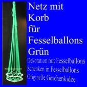 Fesselballon-Netz mit Korb, Grün
