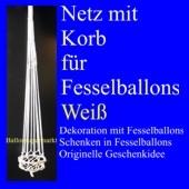 Fesselballon-Netz mit Korb, Weiß