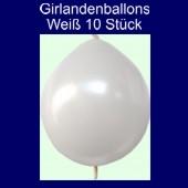 Kettenballons-Girlandenballons-Weiß-Metallic, 10 Stück