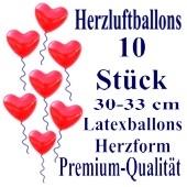 Herzluftballons Rot 10 Stück / Heliumqualität