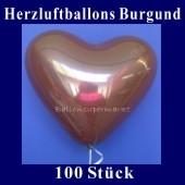Herzluftballons Burgund 100 Stück