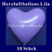 Herzluftballons Lila 10 Stück