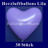 Herzluftballons Lila 30 Stück