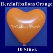 Herzluftballons Orange 10 Stück
