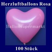 Herzluftballons Rosa 100 Stück