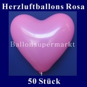 Herzluftballons Rosa 50 Stück