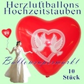 Herzluftballons mit Hochzeitstauben, 10 Stück