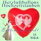Herzluftballons mit Hochzeitstauben, 25 Stück